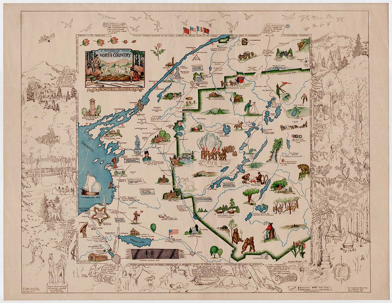 Map Of Northern New York.A Romance Map Of The North Country Secondary Title Pictorial And Historic Map Of Northern New York By N Jane Phelps James G Riggs Josephine On