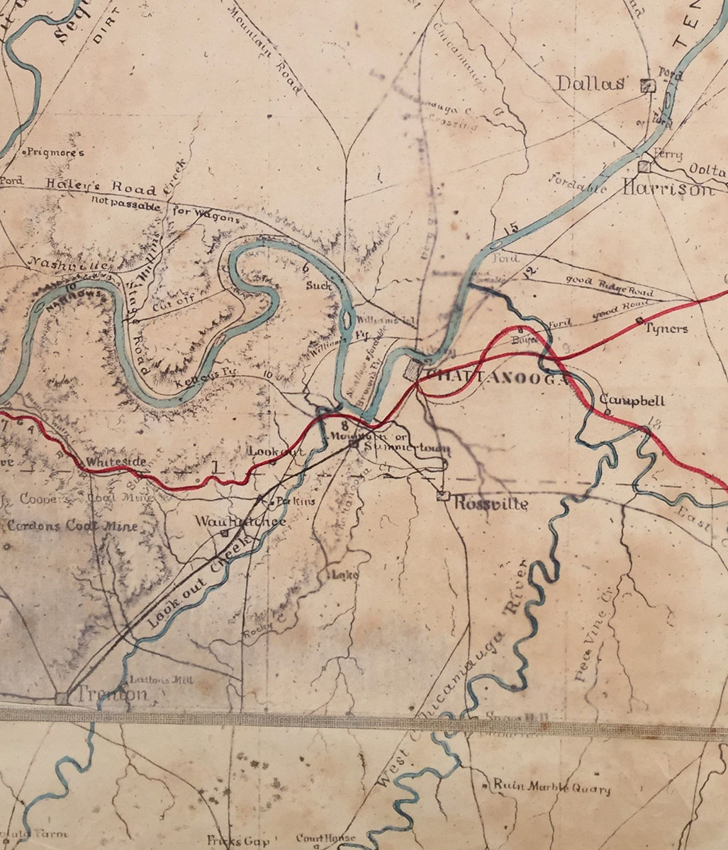 Map of Middle and East Tennessee and Parts of Alabama and