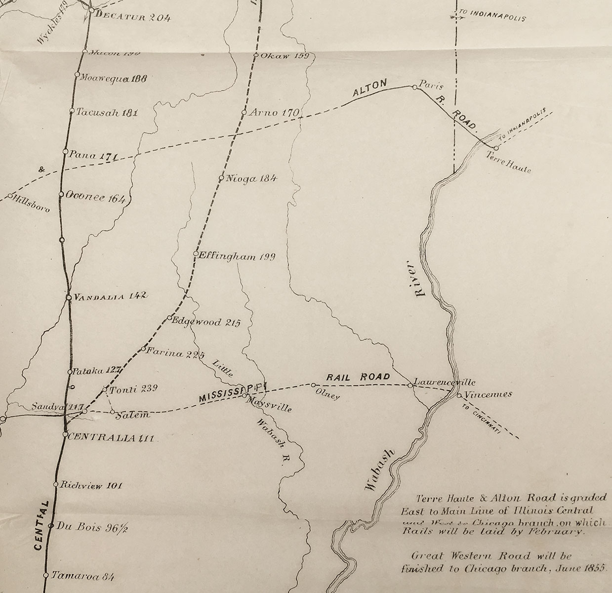 Shortest Route Between Chicago And >> Illinois Central R R Manuscript Cover Title Railway Guide For