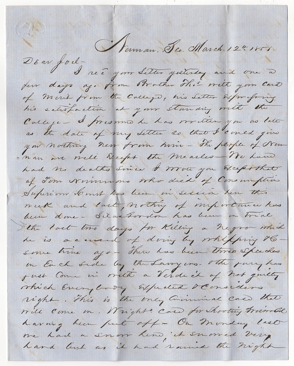 Letters of the Berry Family of Georgia With Slavery and