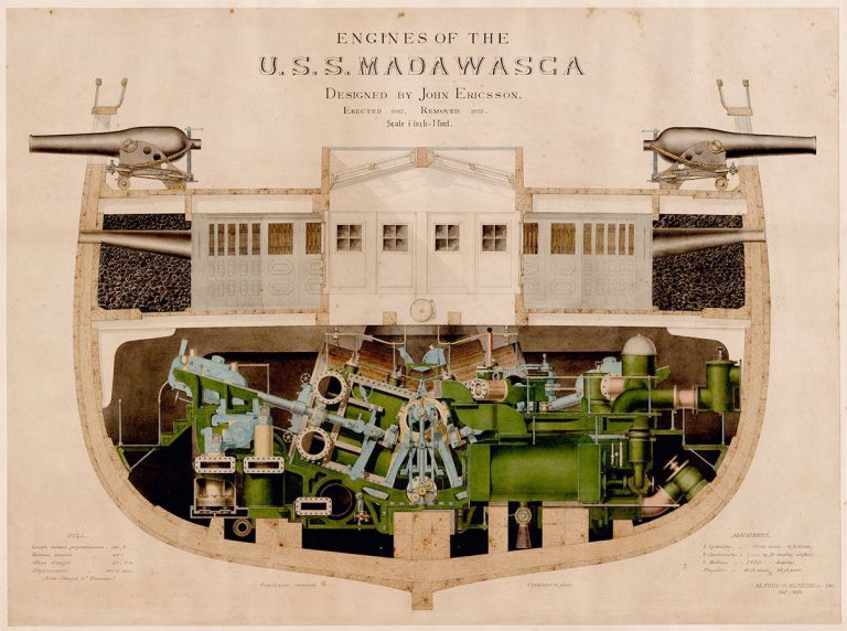 Engines of the U.S.S. Madawasca. Designed by John Ericsson. Erected 1867. Removed 1873. Alfred O. Blaisdell, delineator.