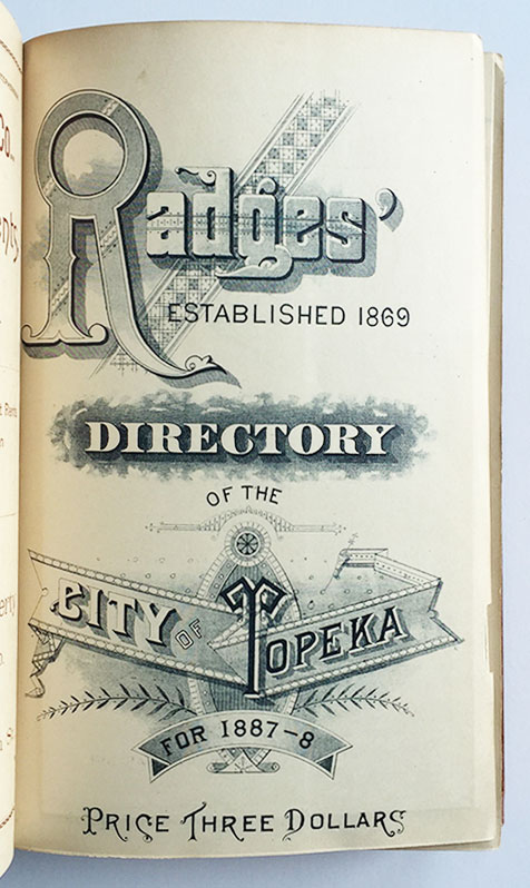 Radges' Directory of the City of Topeka for 1887-8.