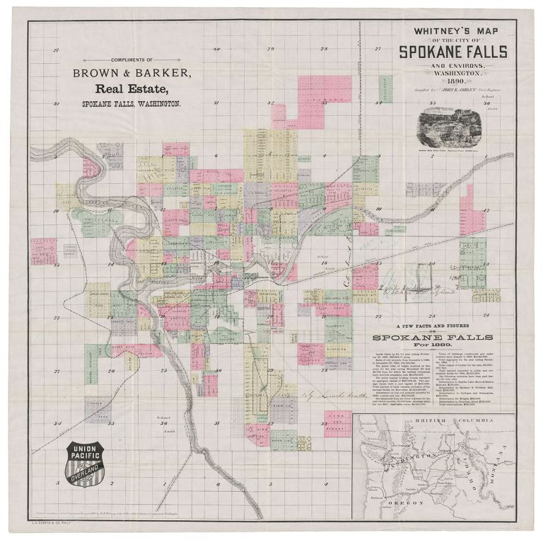 Whitney's Map of the City of Spokane Falls and Environs, Washington. Compiled by John K. Ashley Civil Engineer. John K. Ashley.