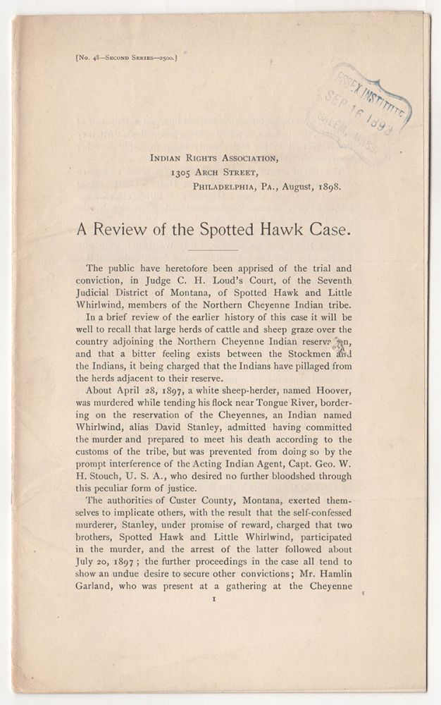 A Review of the Spotted Hawk Case.