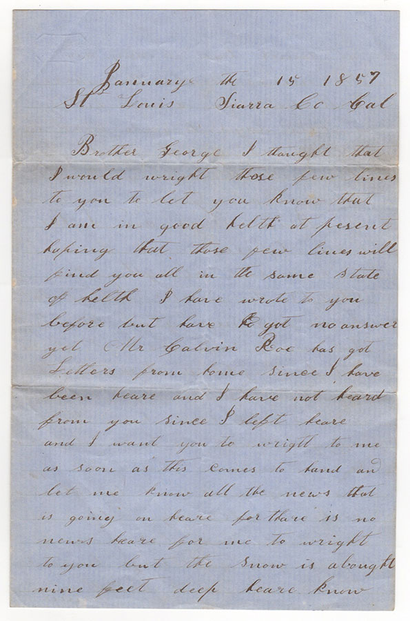 [Two California gold rush letters]. Peter Later.