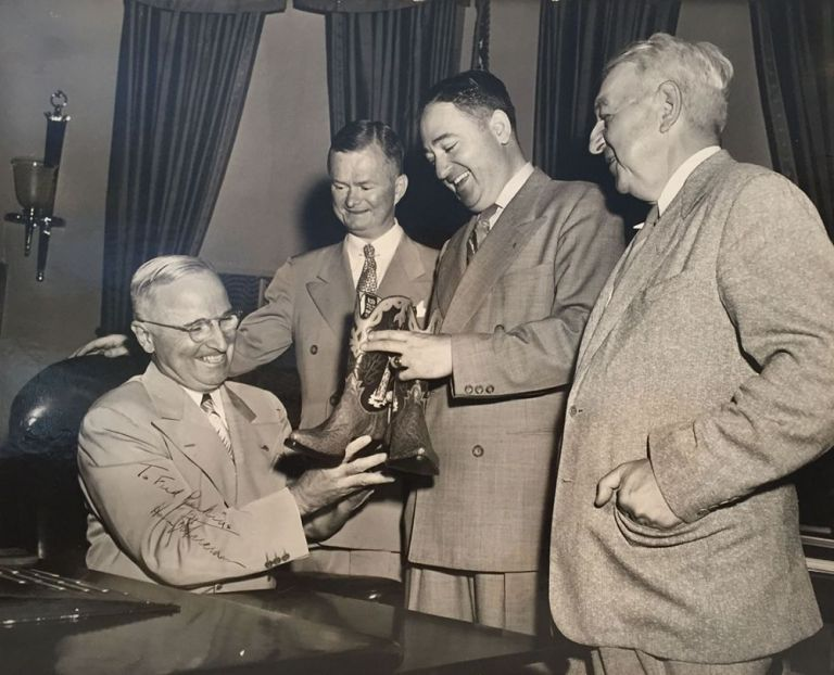 [President Harry Truman Receives a Gift of Cowboy Boots]. Harry Truman.