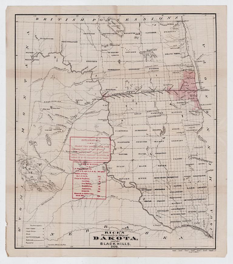 Rice's Township Map of Dakota and the Black Hills. G. Jay Rice.