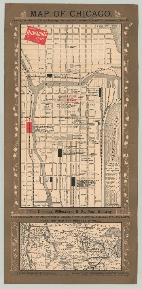 Map of Chicago. Showing Location of Railway Passenger Stations, Principal Hotels, Places of Amusement, Etc., Etc.
