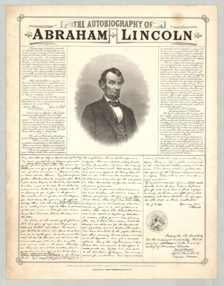 The Autobiography of Abraham Lincoln. Abraham Lincoln, Jesse Fell, W.