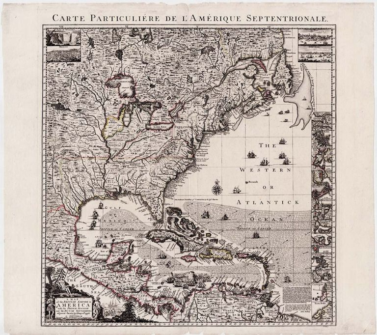 Carte Particuliere de l'Amerique Septentrionale. [Secondary title:] A Map of the British Empire in America with the French, Spanish and the Dutch Settlements Adjacent thereto by Hen. Popple at Amsterdam. Covens, Henry Mortier / Popple.