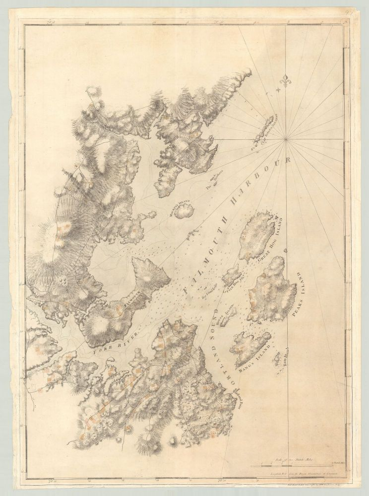 [Untitled chart of present-day Portland Harbor and environs, known as Falmouth at the time of publication]. Des Barres, Samuel Holland, publisher, lead surveyor, oseph, rederick, allet.