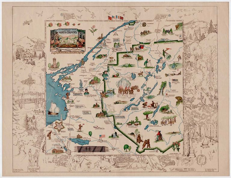 A Romance Map of the North Country. [Secondary title:] Pictorial and Historic Map of Northern New York. N. Jane Phelps, James G. Riggs ., Josephine W. Wickser, compiler, adviser.