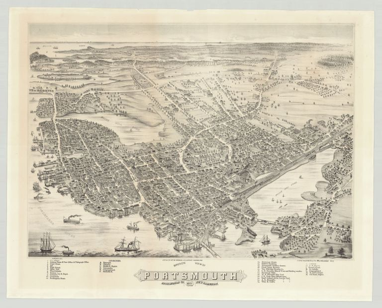 Bird's Eye View of Portsmouth, Rockingham Co. New Hampshire 1877. Albert Ruger.