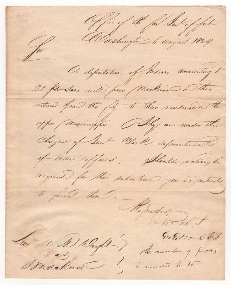 [Letter to Lieutenant A. M. Wright in Mackinac about a Deputation of Indians Led by William Clark]. George Gibson.