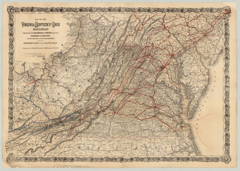 Map of the Virginia, Kentucky and Ohio Railroad Connecting the Railroads of Virginia With the Railroads of Kentucky on the Shortest Route East and West From the Mississippi Valley to the Atlantic Ocean.
