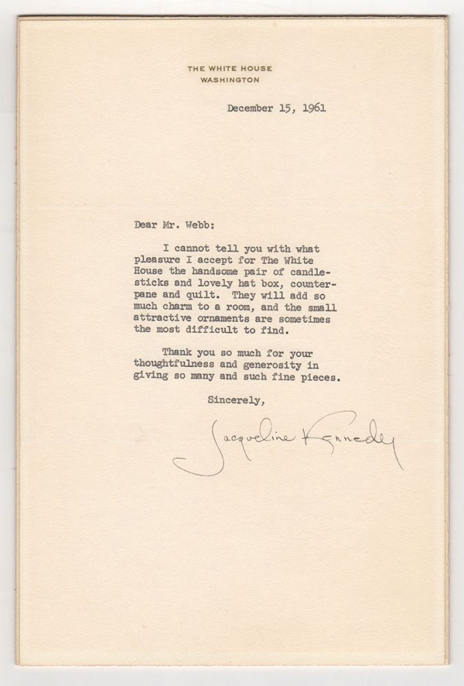 [Typed Letter Signed by Jackie Kennedy]. Jacqueline Kennedy.