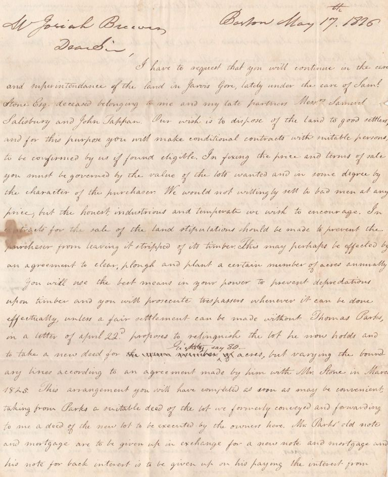[Archive Relating to the Founding of the Town of Brewer, Maine]. Josiah Brewer, Joseph Sewell.