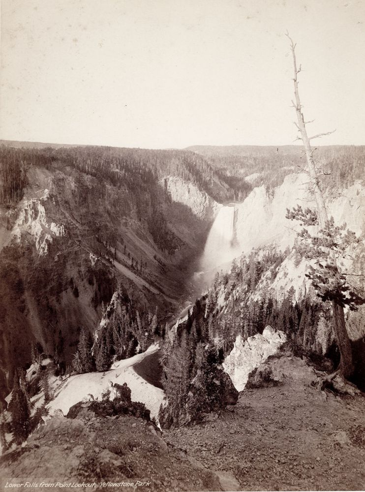 Lower Falls from Point Lookout, Yellowstone Park. John Karl Hillers, photographer.