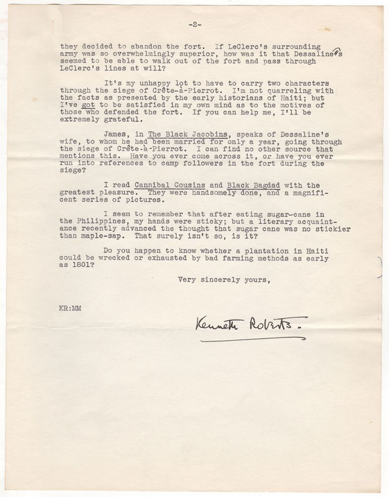 [Novelist Kenneth Roberts' Correspondence With an Authority On Haitian History For His Novel Lydia Bailey.]. Kenneth Roberts, John H. Craige.