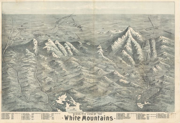 Birds Eye View of the White Mountains. Brooks Bank Note, Lith'g Co, printer.