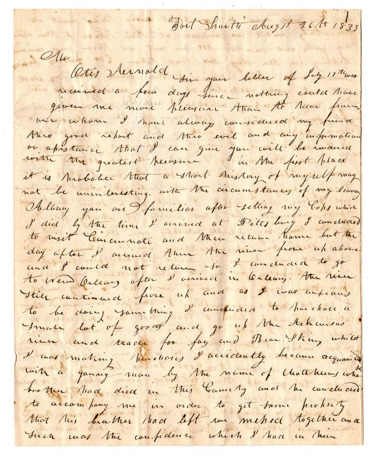 [An early Arkansas trader's letter written during the Indian Removal period]. Jonas Bigelow.