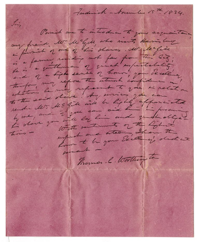 [A letter to the Governor of Pennsylvania in pursuit of a runaway slave.]. Thomas Contee Worthington.