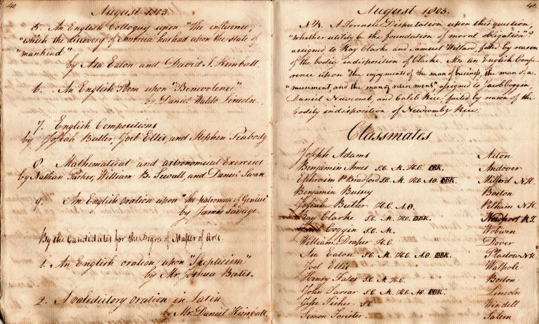 [Journal of a Harvard student and teacher at Phillips Academy, Andover.] Diary from Jan. 1, 1803, to Sep. 2, 1804 [cover-title]. David Tenney Kimball.