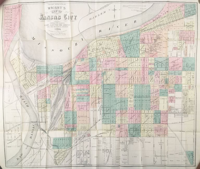 Wright's New Map and Guide for Kansas City, Mo. Kansas City and Wyandotte, Kans. Carl Gothe de Grote, compiler and del.