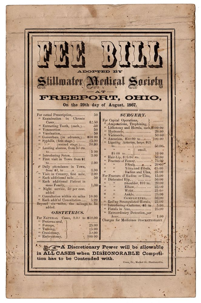 Fee Bill Adopted by Stillwater Medical Society at Freeport, Ohio, On the 29th day of August, 1867. Stillwater Medical Society.