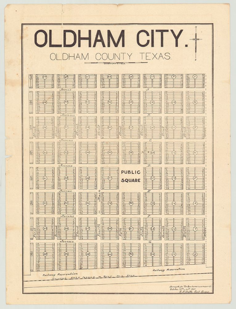 [Oldham City, Texas and Rock Island Investment Co. archive]. E. J. Batte, civil engineer.
