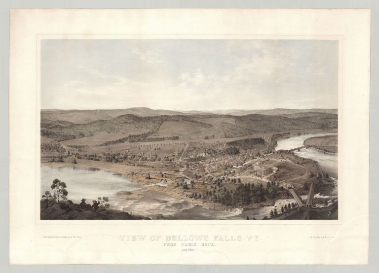 View of Bellows Falls Vt. From Table Rock. June, 1855. daguerreotypist S. W. Hull, after.