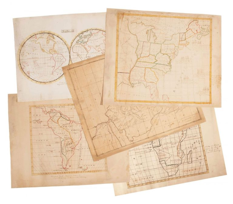 """[Five manuscript """"school"""" maps, including maps of the World, United States, Kentucky, South America and Africa.]. Members of the Craig Family of Kentucky."""