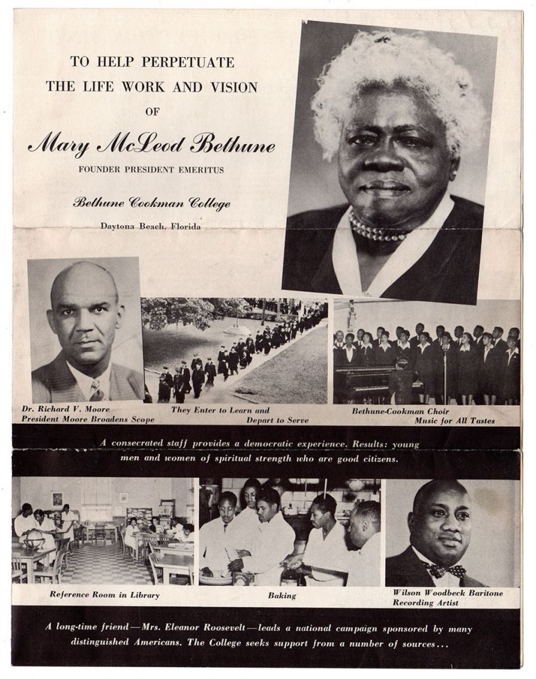 To Help Perpetuate The Life Work and Vision of Mary McLeod Founder President Emeritus Behune Cookman College Daytona Beach Florida. Bethune Cookman College.