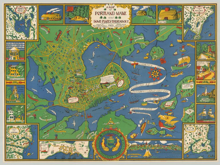 A Map of Portland Maine and Some Places Thereabout. Katherine Dudley.