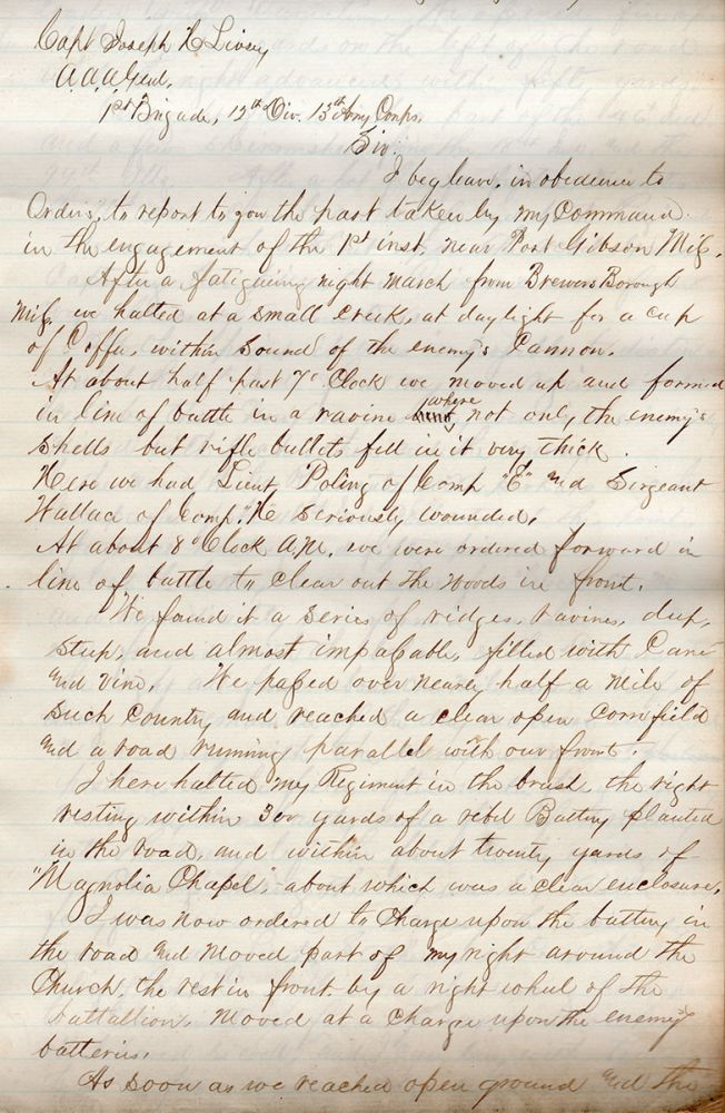 [Manuscript compilation of official reports for the Battle of Port Gibson.]. George Francis McGinnis, James A. Mitchell.