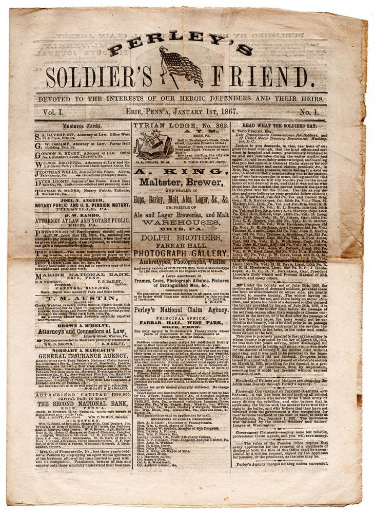 Perley's Soldier's Friend. Devoted to the Interests of our Heroic Defenders and their Hiers. Vol. I. No. 1. Perley's National Claim Agency.