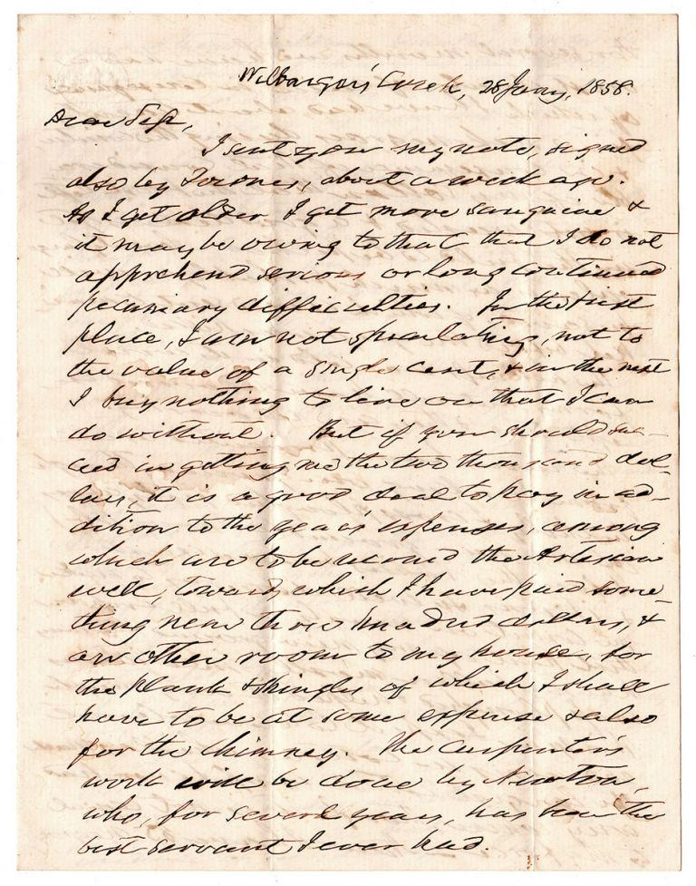 [Letter from an Early Texas Settler and Plantation owner.]. Silas Parsons.