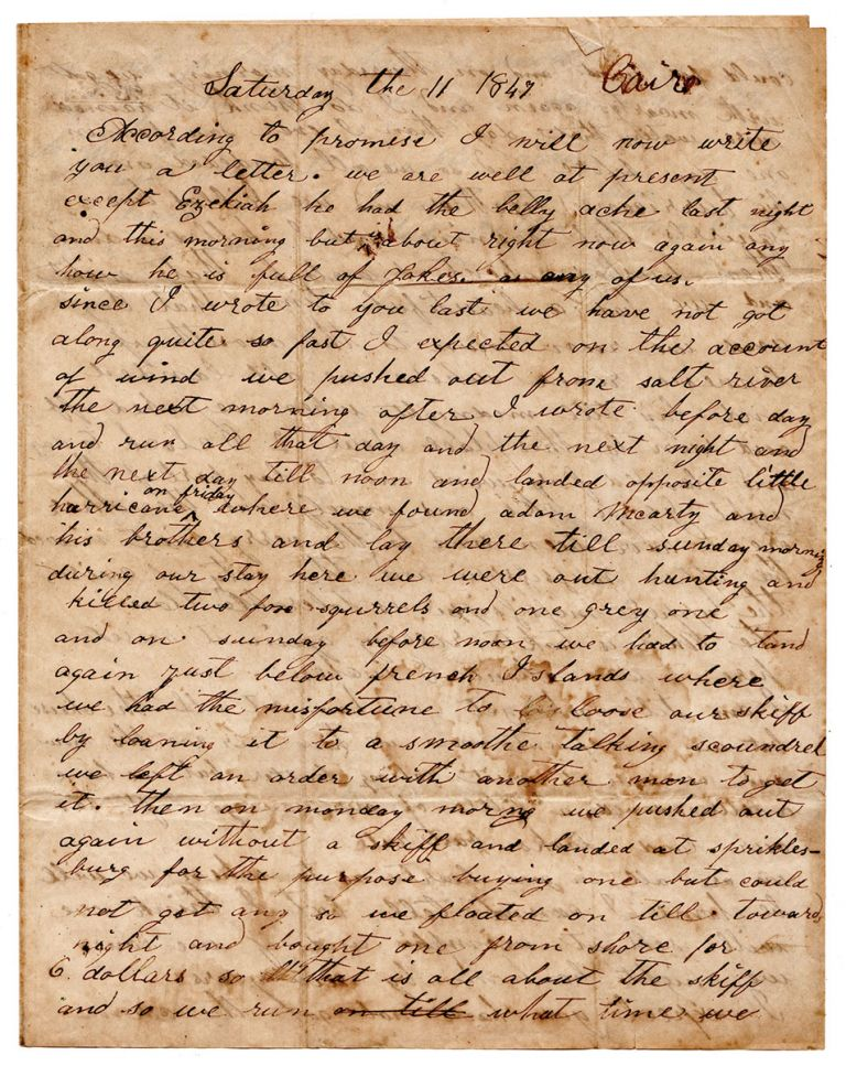 [Letter of a flatboatman on the Ohio river.]. Samuel Rothgeb.