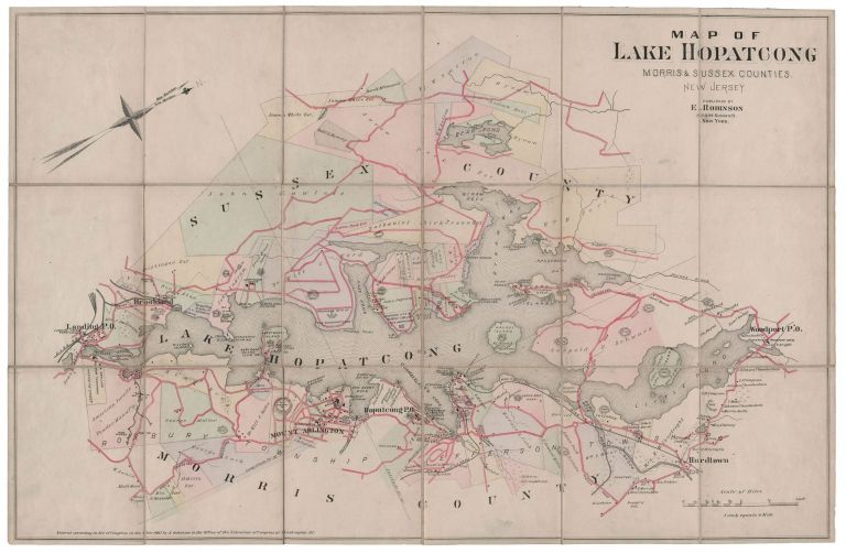 Map of Lake Hopatcong. Morris and Sussex Counties. New Jersey.