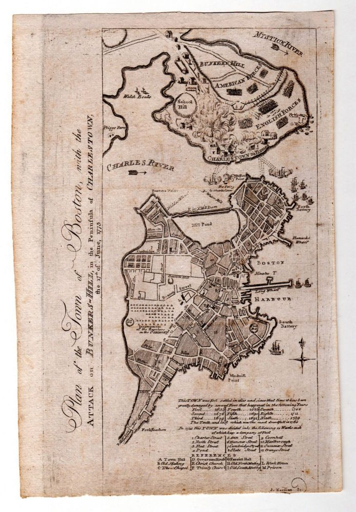Plan of the Town of Boston, With the Attack on Bunker's Hill, in the Peninsula of Charlestown, the 17th of June, 1775. J. Norman, engraver. Sayer, Bennett, after.