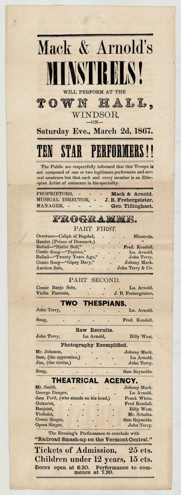 Mack & Arnold's Minstrels! Will Perform at the Town Hall, Windsor, on Saturday Eve., March 2d, 1867. Mack, Arnold.