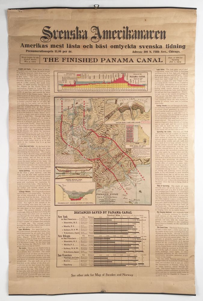 """The Finished Panama Canal. Svenska Amerikanaren. Amerikas mest lästa och bäst omtyckta svenska tidning [""""America's most read and best-liked Swedish newspaper""""]. Birdseye View of the Panama Zone Showing the U.S. Isthmian Canal from the Latest Official Date Furnished by the Isthmian Canal Commission [map-title]. E. Murray-Aaron, del."""