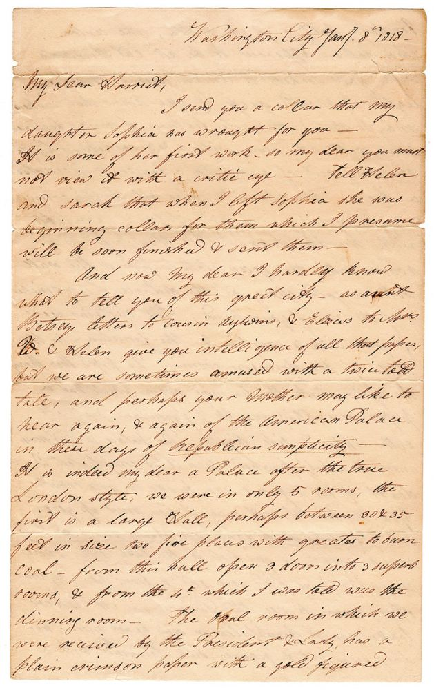 [Autograph letter on the reconstructed and reopened President's house.]. Mary Ashmun.