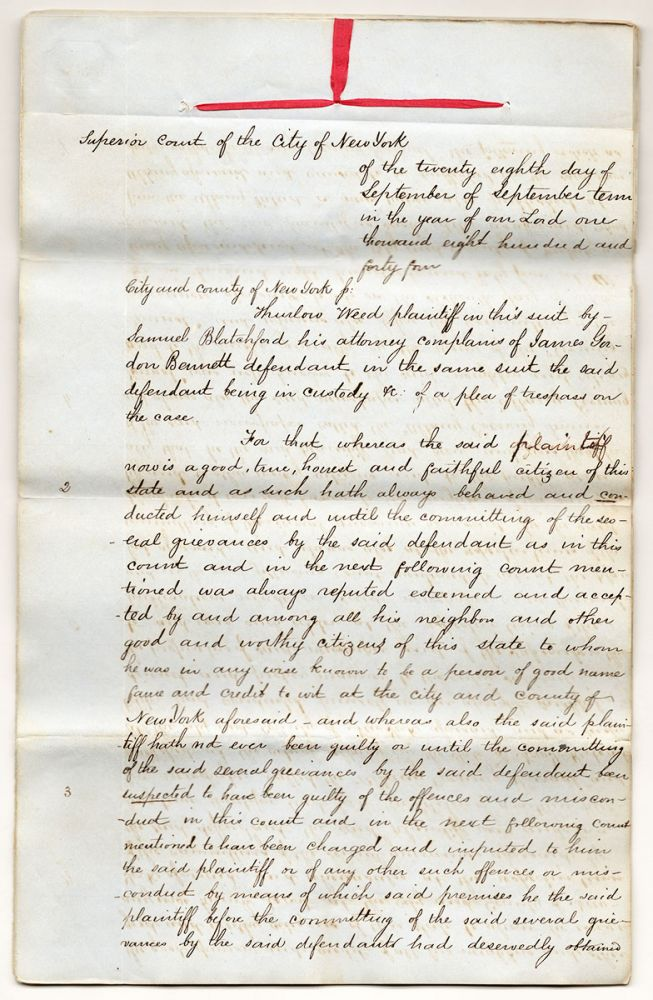 [Legal papers relating to the Roorback Forgery.]. Samuel Blatchford.