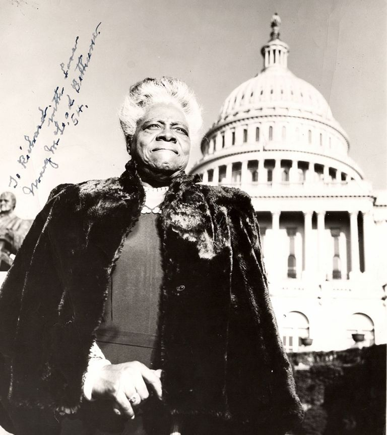 [Inscribed photograph of Mary McLeod Bethune standing before the U. S. capitol].