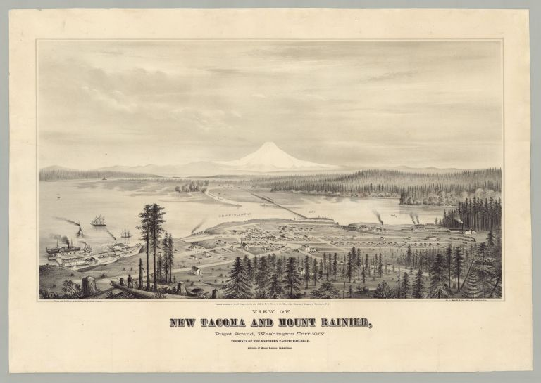 View of New Tacoma and Mount Rainier, Puget Sound, Washington Territory. Terminus of the Northern Pacific Railroad. Altitude of Mount Rainier, 14,440 feet. artist Glover, li, heldon.