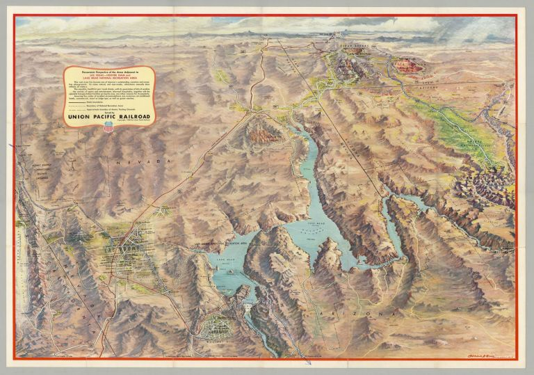 Panoramic Perspective of the Area Adjacent to Las Vegas—Hoover Dam, Lake Mead National Recreation Area; Las Vegas—Hoover Dam, Lake Mead National Recreation Area. Gerald A. Eddy, mapmaker, Union Pacific Railroad.