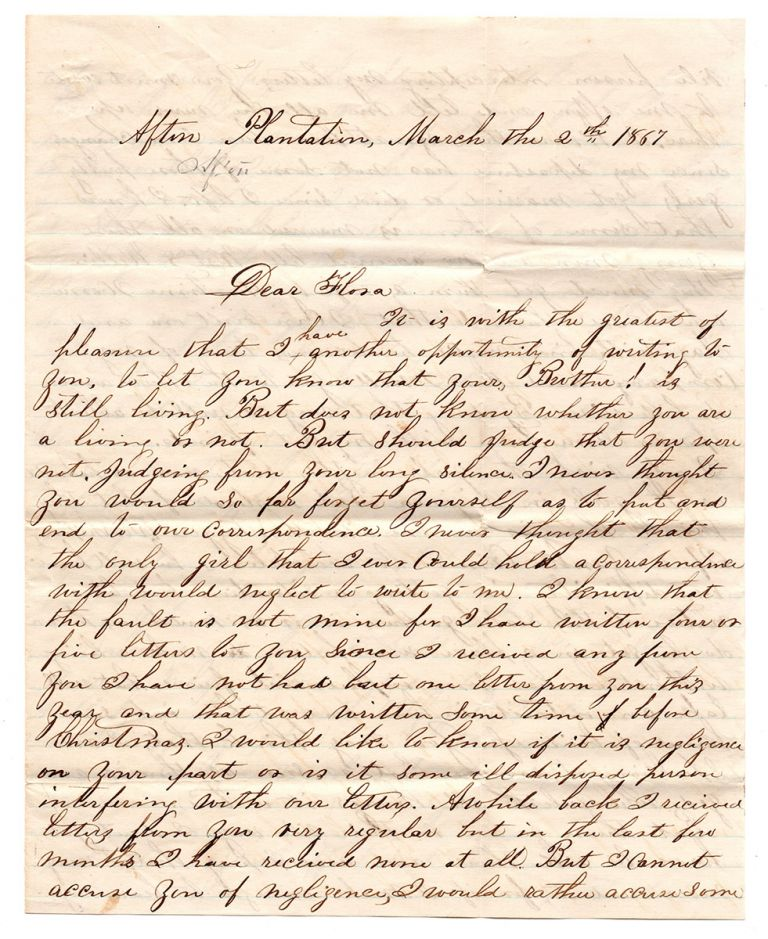 [Reconstruction-era letters of an ex-rebel in Port Hudson and New Orleans.]. Wade Gaulden Chiek, Lucien Bloodwell.
