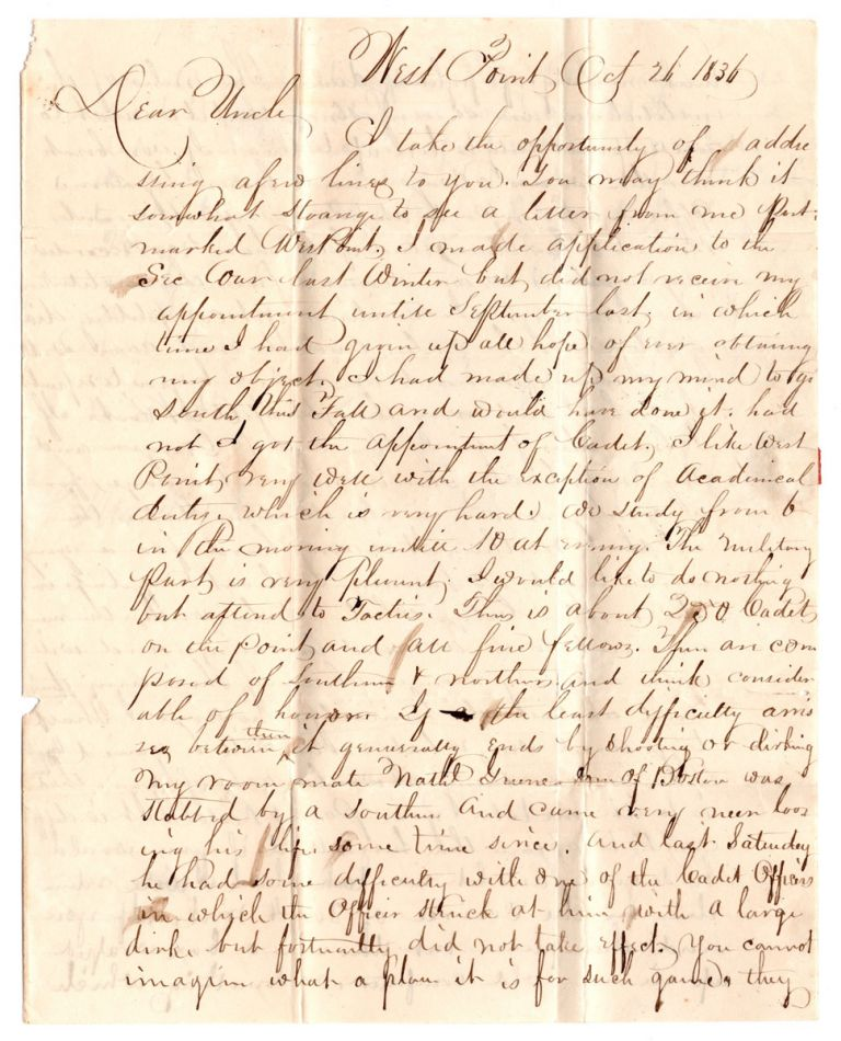 [Autograph letter on cadet life at West Point.]. George B. Reab.