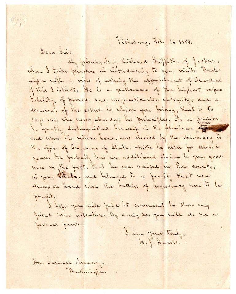 [Letters of recommendation for Richard Griffith relating to his effort to secure appointment as U.S. Marshall of Mississippi.]. Samuel S. Boyd, James Whitfield.